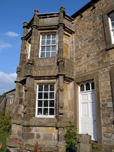 Little Mearley Hall Farm - bay window with medieval stonework from Sawley Abbey