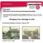 April Community Heritage Newsletter