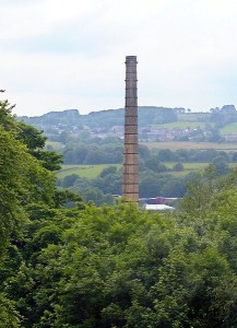 Lomeshaye Bridge Mill view to Lomeshaye Mill chimney and Pendleside
