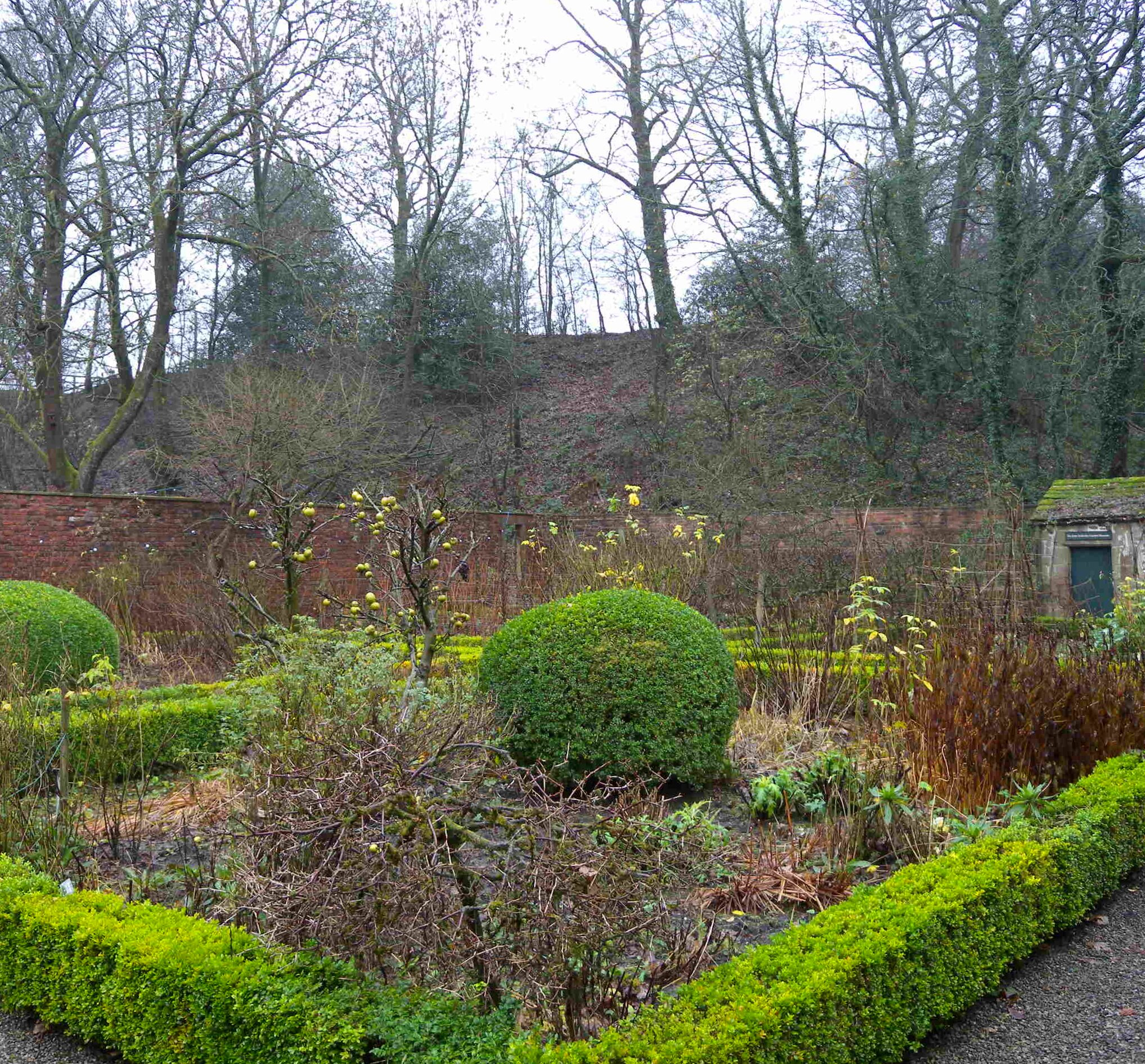 walled garden in winter pendle heritage centre
